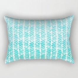 Handpainted Chevron pattern - small - light green and aqua teal Rectangular Pillow