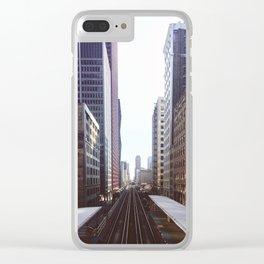 Chicago Loop El Tracks at Dusk Clear iPhone Case