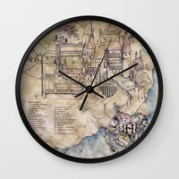 hogwarts Wall Clocks featuring Hogwarts Map by Sarah Ridings