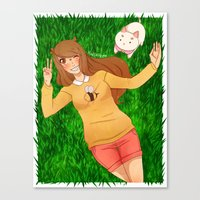 bee and puppycat Canvas Prints featuring Bee and Puppycat by radcoffee