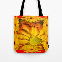 MODERN RED GOLDEN YELLOW SUNFLOWERS ART Tote Bag