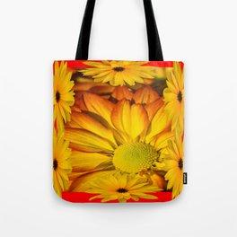 MODERN RED GOLDEN YELLOW SUNFLOWERS ART Tote Bag