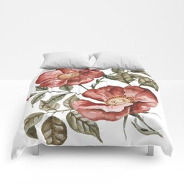 Red Floral Painting Comforters