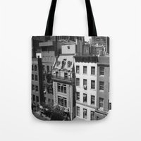 buildings Tote Bags featuring Buildings by Mariairene Didoni