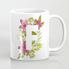 Monogram F with red waercolor flowers and green leaves. Floral letter F. Botanical illustration. Coffee Mug