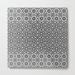 African Tribal Style Hexagon Motif Pattern Black and White Metal Print