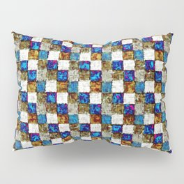 Brown Blue Multicolored Patchwork Pillow Sham
