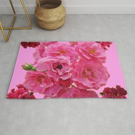 DECORATIVE FRILLY SCENTED PINK ROSE CLUSTERS ON PINK Rug