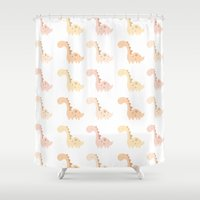 dinosaurs Shower Curtains featuring Dinosaurs! by Juice for Breakfast