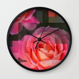 Rose Abstract des 1, Abstract, Pixilate, Geometric, Digital Wall Clock
