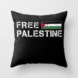 Free Palestine Gaza Flag Arabic Throw Pillow
