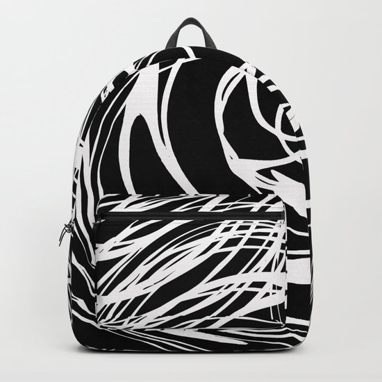 Abstract white pattern on a black background . Backpack
