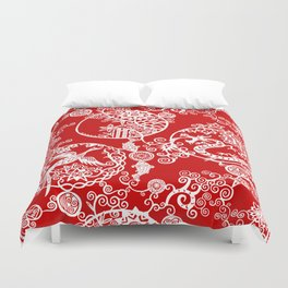 Pieces of China: Clusters (white on red) Duvet Cover