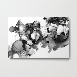 Black & White Abstract Alcohol Ink I Metal Print