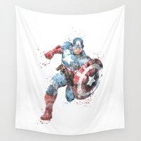 superhero Wall Tapestries featuring Captain . America Superhero by Carma Zoe