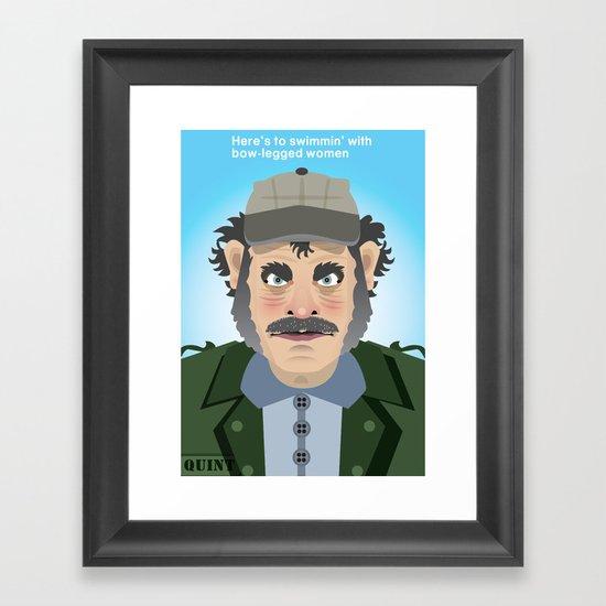 Jaws Quint Framed Art Print