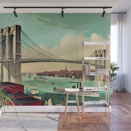 19th Century Portrait of the Brooklyn Bridge and East River, NYC Wall Mural