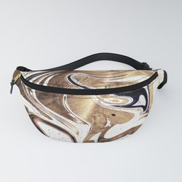 Metallic Gold Purple White Marble Swirl Fanny Pack