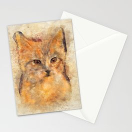 Ginger cat art Stationery Cards