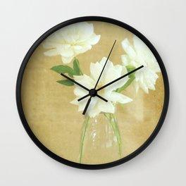 Burlap and Roses Wall Clock