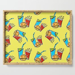 Fun Fast Food (seamless pattern in yellow) Serving Tray