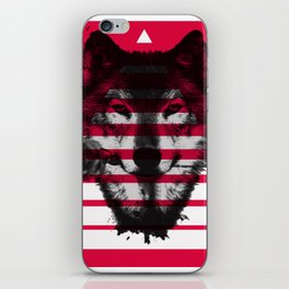 Red wolf white 4 iPhone Skin