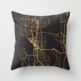 SEATTLE WASHINGTON GOLD ON BLACK CITY MAP Throw Pillow