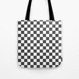 Gingham Dark Slate Grey Checked Pattern Tote Bag