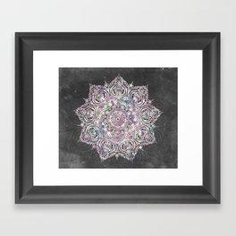 Dreaming Mandala - Magical Purple on Gray Framed Art Print