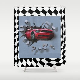 Speeding Red Car Breaking Through Wall Shower Curtain
