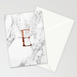 Monogram rose gold marble E Stationery Cards