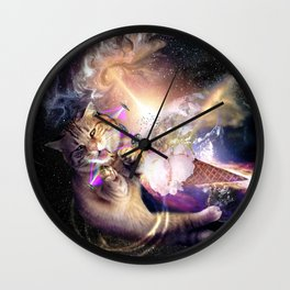 Galaxy Space Cat Reaching Ice Cream With Laser Wall Clock