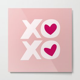 XOXO in Pink and White with Raspberry Heart Metal Print