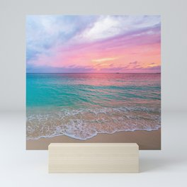 Aerial Photography Beautiful: Turquoise Sunset Relaxing, Peaceful, Coastal Seashore Mini Art Print