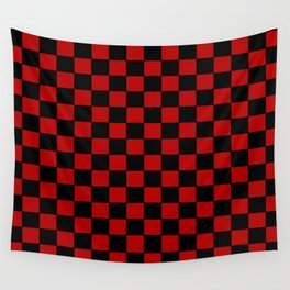 Checkers - Black and Red Wall Tapestry