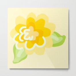 Buttercup on Soft Yellow Metal Print