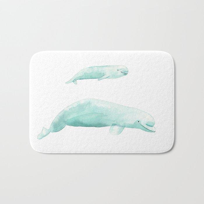 Beluga whale with baby Bath Mat by tinavandijkart | Society6