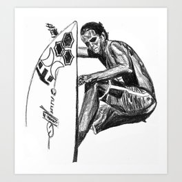 Surfer - Black and White Art Print