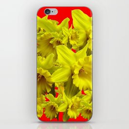 YELLOW SPRING DAFFODILS ON CHINESE RED ART iPhone Skin