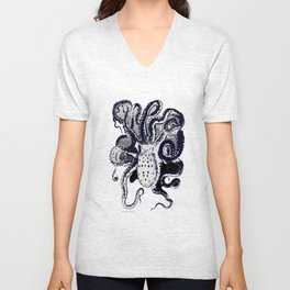 Octopus (Black/White)  Unisex V-Neck