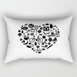 I Love Health | Nutrition Sports Life Heart Rectangular Pillow