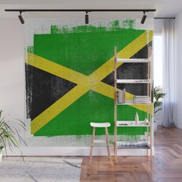 Jamaican Distressed Halftone Denim Flag Wall Mural