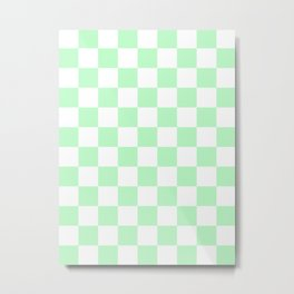 Checkered - White and Light Green Metal Print