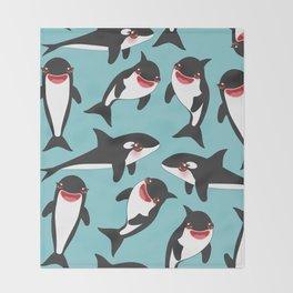 Cartoon grampus orca, Kawaii whale, sea wolf Throw Blanket