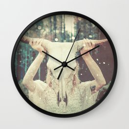 Bull Skull Tribal Woman Wall Clock