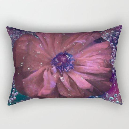 Smoky pink poppy in the dew Rectangular Pillow