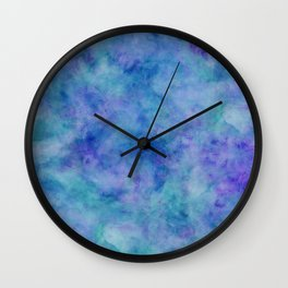 Bright Blue Watercolor Texture Wall Clock