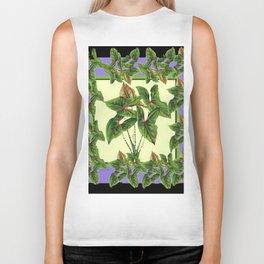 Green Tropical Botanical Foliage  Lilac-Black Art Biker Tank