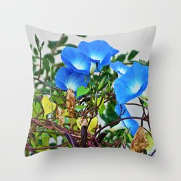 French Blue Morning Glory Throw Pillow