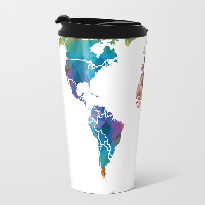 Geometric world map travel mug by catherineholcombe society6 geometric world map travel mug gumiabroncs Image collections